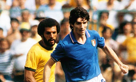 Italy's Paolo Rossi with Júnior of Brazil