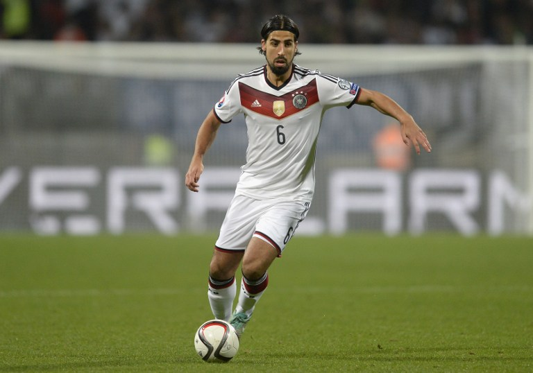 Germany's midfielder Sami Khedira plays the ball during the UEFA 2016 European Championship qualifying round Group D football match Germany vs Gibraltar in Nuremberg, southern Germany on November 14, 2014. AFP PHOTO / CHRISTOF STACHE