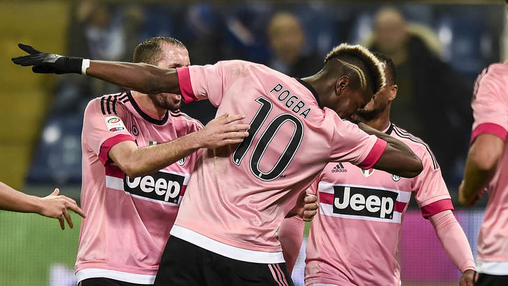 "Foto LaPresse - Daniele Badolato 10/01/2016 Genova ( Italia) Sport Calcio Sampdoria - Juventus Campionato di Calcio Serie A TIM 2015 2016 - Stadio ""Marassi"" Nella foto: Paul Pogba esulta per il gol del 0-1 Photo LaPresse - Daniele Badolato 10 January 2016 Genova ( Italy) Sport Soccer Sampdoria - Juventus Italian Football Championship League A TIM 2015 2016 - ""Marassi"" Stadium In the pic: Paul Pogba celebrates 0-1 goal"