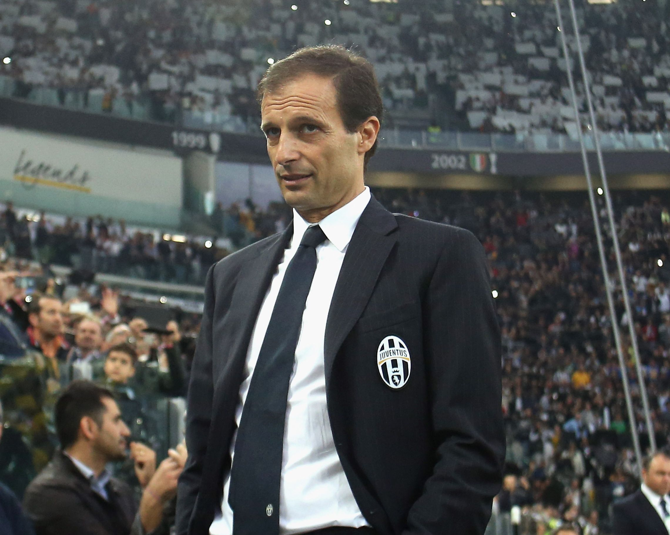 TURIN, ITALY - OCTOBER 05: Head coach of Juventus Massimiliano Allegri looks on during the Serie A match between Juventus FC and AS Roma at Juventus Arena on October 5, 2014 in Turin, Italy. (Photo by Maurizio Lagana/Getty Images)